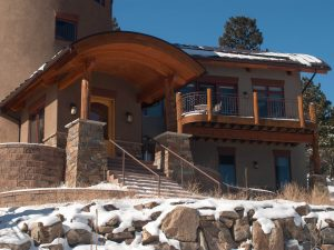 Catherine Krumme Residence - front entry, Mountain Territorial Style