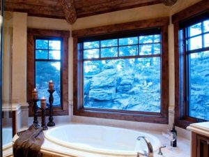 Schultz Custom Luxury Mountain Master Bath with view